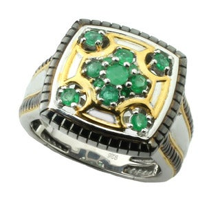 One-of-a-kind Michael Valitutti Men's Emerald Ring (Size 10)