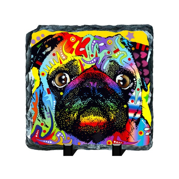 Pug Colorful Animals Art Printed on Slate Wall Decor