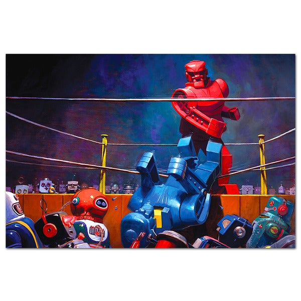 Robot Fight Vintage Robot 18x12 Printed on Metal Wall Decor
