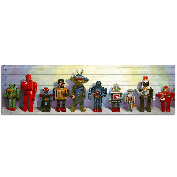 Line up Vintage Robot 10x36 Printed on Metal Wall Decor