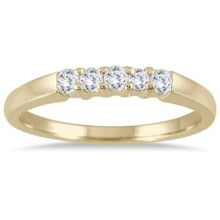 Marquee Jewels 10k Yellow Gold 1/4ct TDW Prong Set 5-stone Diamond Band (I-J, I2-I3)