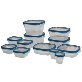 24 Piece Plastic Food Storage Containers Set with Vents and Air Tight Locking Lids