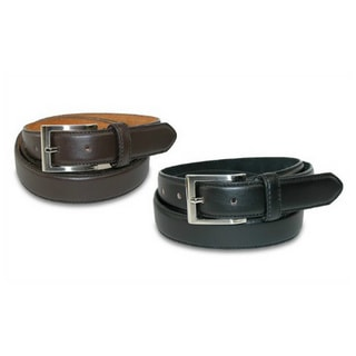 Men's Black and Brown Genuine Leather Belts (Pack of 2)