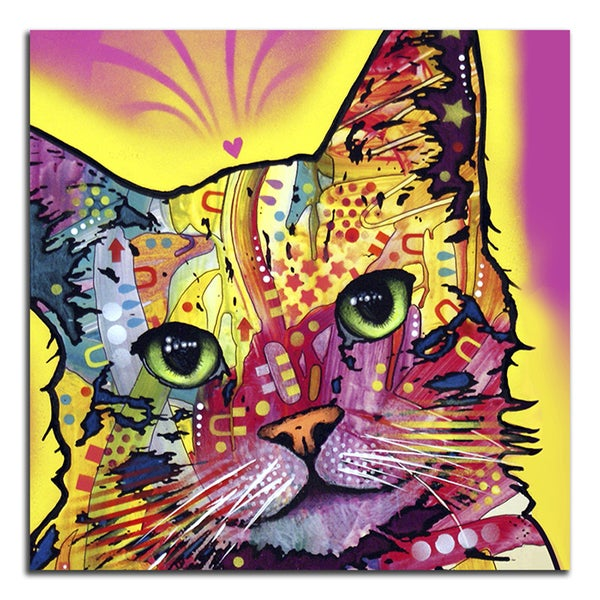 Colorful Pink Cat Metal Printed on Metal Wall Decor