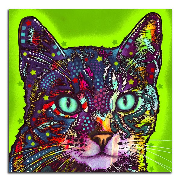Colorful Green Cat Metal Printed on Metal Wall Decor
