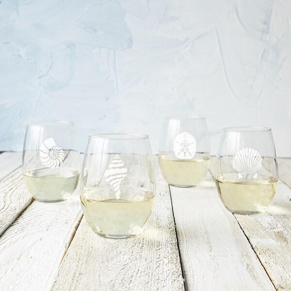 21 ounce Seashell Stemless Wine Glasses