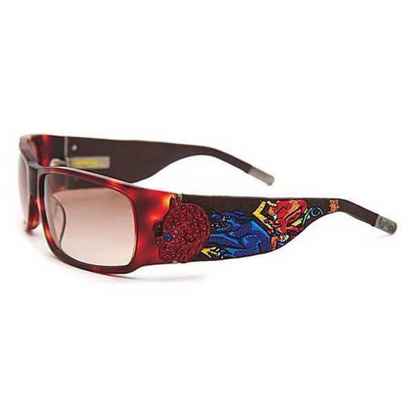 Ed Hardy Ehs-036 Devil On Panther Flat Tortoise/ Brown Sunglasses