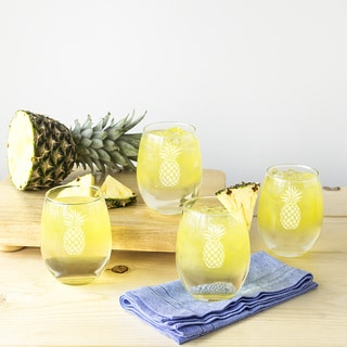 21 ounce Pineapple Stemless Wine Glasses (Set of 4)