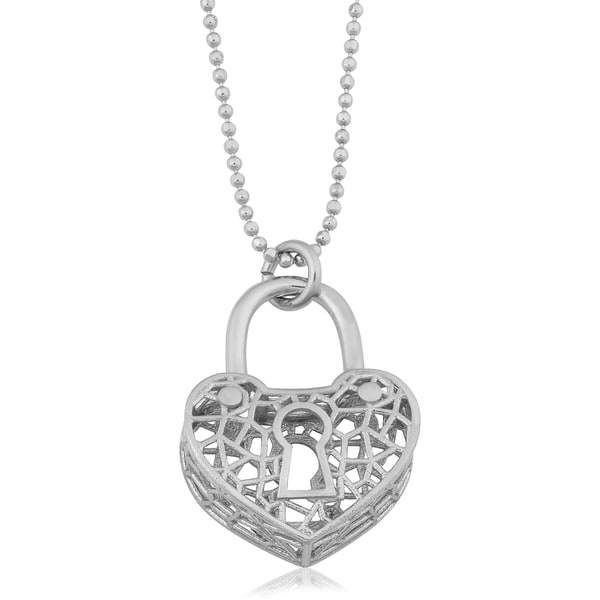 Argento Italia Rhodium Plated Sterling Silver Keyhole Heart Pendant on Bead Chain Necklace (18 inches)