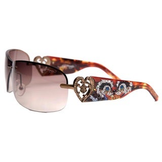 Ed Hardy Ehs-031 Skunk Black and Purple Tortoise/ Brown Sunglasses