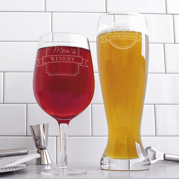 Mom & Dad Extra Large Beer and Wine Glass Set