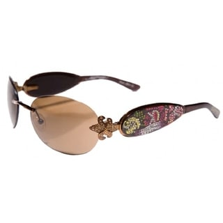 Ed Hardy Ehs-014 Three Old School Roses Cocoa/ Brown Sunglasses