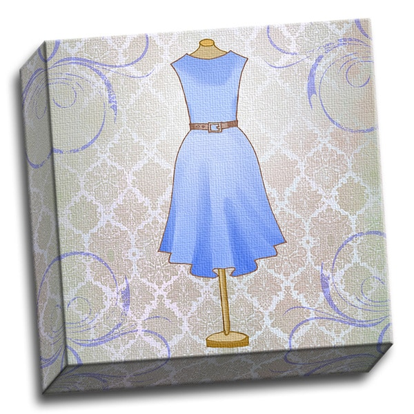 Vintage Sky Blue Dress 12x12 Girls Printed on Framed Ready to Hang Canvas