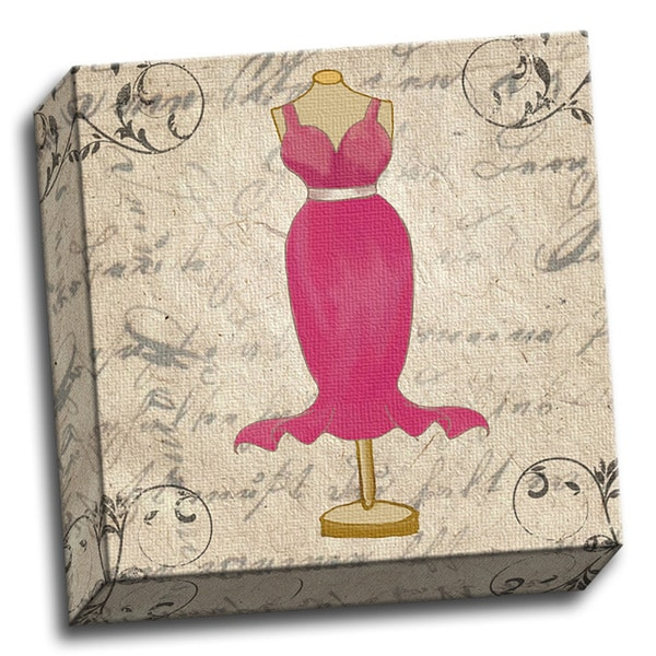 Vintage Pink Dress 12x12 Girls Printed on Ready to Hang Framed Stretched Canvas