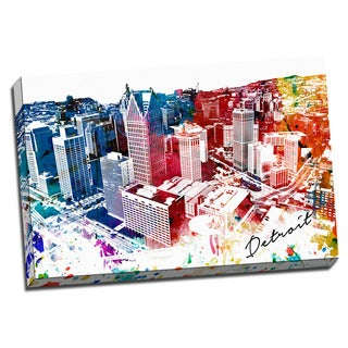 Detroit Painting Printed on Framed Ready to Hang Canvas