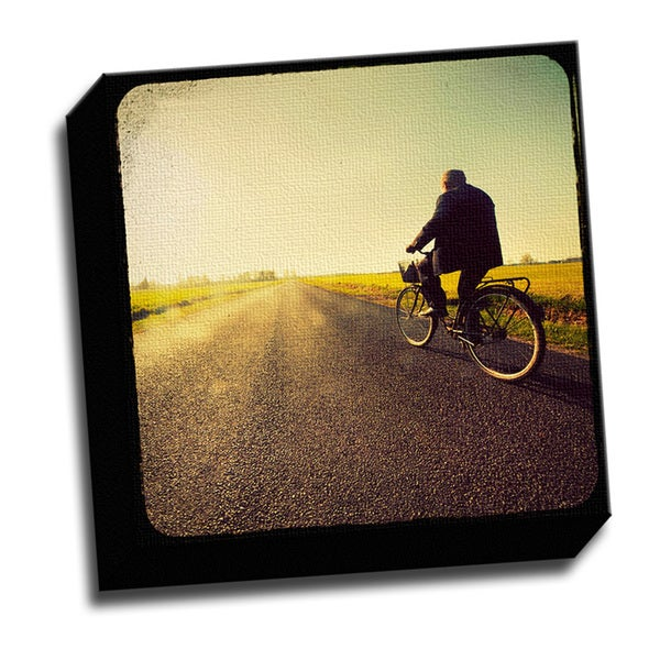 Bike Rider 12 x 12 Printed on Framed Ready to Hang Canvas