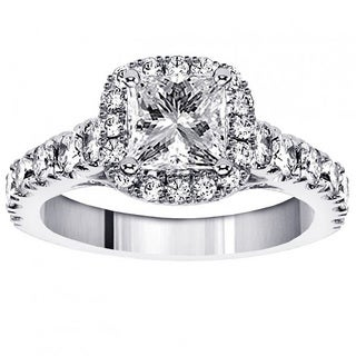 Platinum 2 3/8ct TDW Clarity Enhanced Princess-cut Diamond Encrusted Engagement Ring