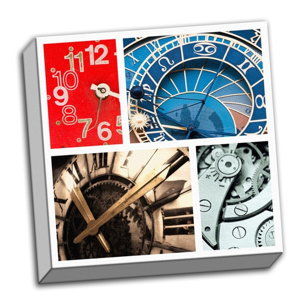 Recurring Time Piece Collage Clock Printed on Framed Ready to Hang Canvas