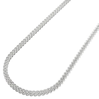 14k White Gold 2.5mm Hollow Franco Chain Necklace