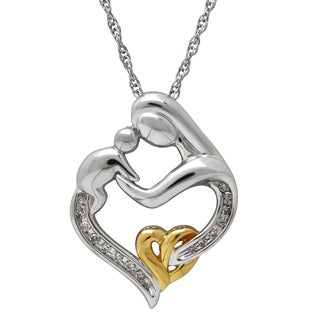 Sterling Silver 1/10ct TDW Diamond Mother and Child Heart Pendant (H-I, I1-I2)