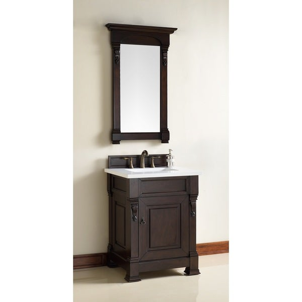 26 Inch Single Sing Vanity with a Mahogany Finish