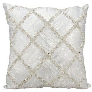 kathy ireland Beaded Diamonds Silver Ivory Throw Pillow 20 x 20
