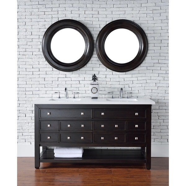 "Vancouver 60"" Cerused Espresso Oak Double Vanity w/Drawers"