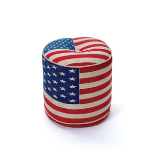 Round American Flag Pouf