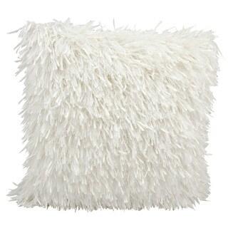 kathy ireland Medlay Soft Shag White Throw Pillow (20-inch x 20-inch) by Nourison