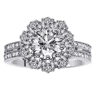 14k or 18k White Gold 2 1/6ct TDW 2-row Shank Diamond Halo Engagement Ring
