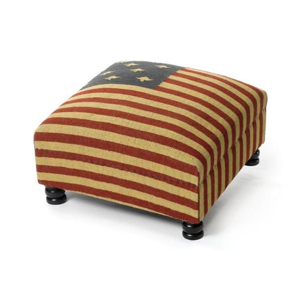 Vintage American Flag Ottoman