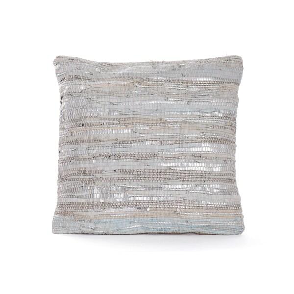 Hip Vintage Silver Textured Merino Throw Pillow