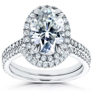 Annello 14k White Gold 1 1/2ct Forever Brilliant Oval Moissanite and 1/2ct Diamond TDW Halo 2-piece Bridal Set (G-H, I1-I2)