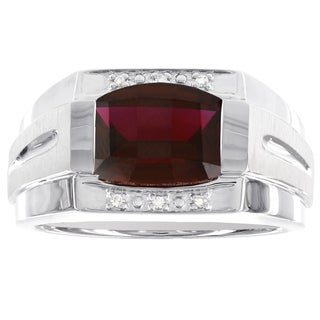 H Star Sterling Silver Barrel Checkerboard Gemstone and 0.03ct TDW Diamond Accent Men's Ring (I-J, I2-I3)