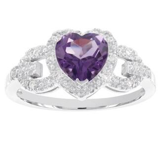 H Star 10K White Gold Heart Shaped Gemstone and 0.05ct TDW Diamond Accent Ring (I-J, I2-I3)