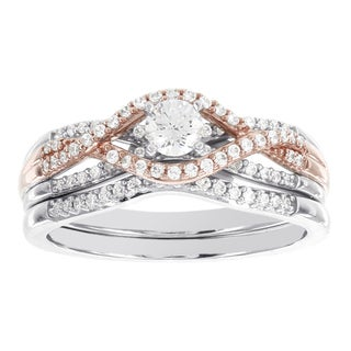H Star 14K White and Rose Gold 0.5ct TDW Diamond Wedding Set (I-J, I2-I3)