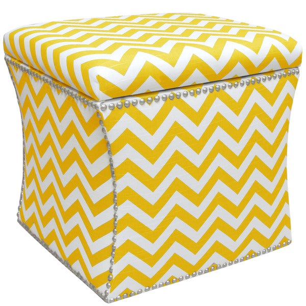 Skyline Furniture Nail Button Storage Ottoman in Zig Zag Yellow Slub