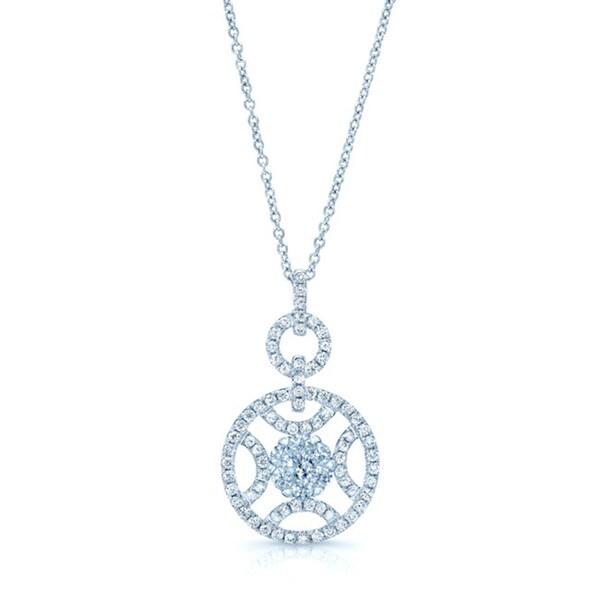 14k White Gold 7/8ct TDW Diamond Circle Pendant (G-I, VS-SI)