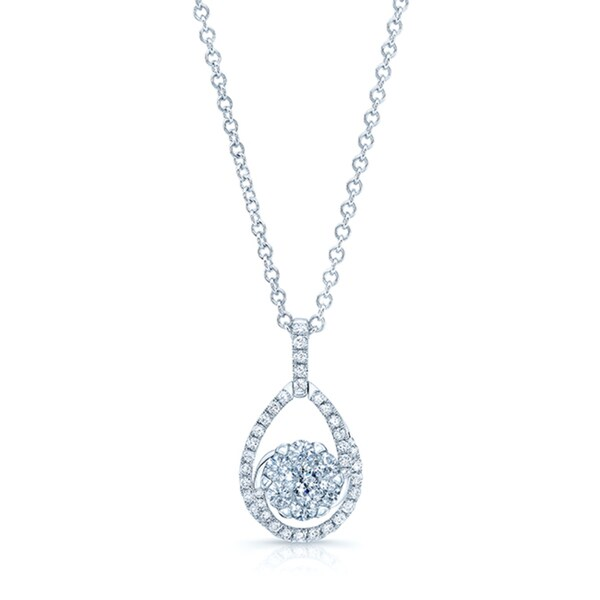 14k White Gold 5/8ct TDW Diamond Tear Drop Basket Pendant (H-I, SI1-SI2)
