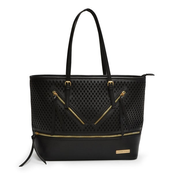Adrienne Vittadini Diamond Perforated Vegan Leather East/West Tote Bag
