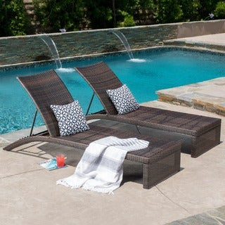 Christopher Knight Home Turin Outdoor Adjustable Wicker Chaise Lounge (Set of 2)