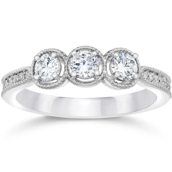10k White Gold 1/2ct TDW Vintage 3-stone Diamond Engagement Ring (I-J,I2-I3)