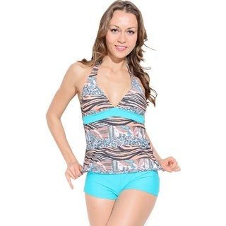 Dippin' Daisy's Orange and Turquoise Tiger Tankini with Boyshorts