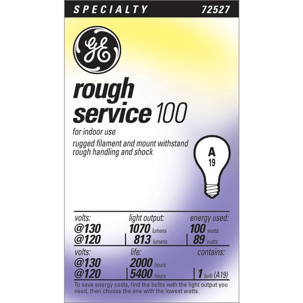 GE Lighting 72527 100 Watt 130 Volt A19 Rough Service Light Bulb