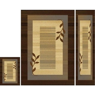 Home Dynamix Royalty Collection Brown-Blue 3-Piece Area Rug Set Machine Made Polypropylene