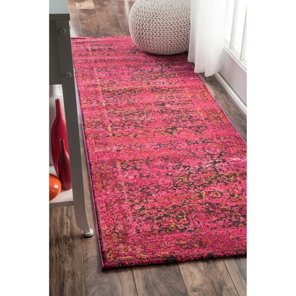 NuLOOM Traditional Vintage Modern Cherry Pink Runner Rug