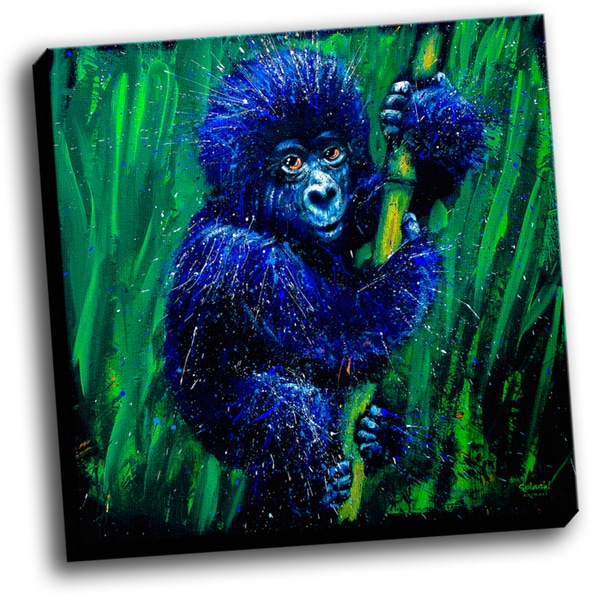 Baby Gorilla Colorful Art Printed on Ready to Hang Framed Stretched Canvas