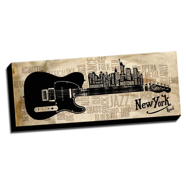 New York Black Music Road Printed on Framed Ready to Hang Canvas