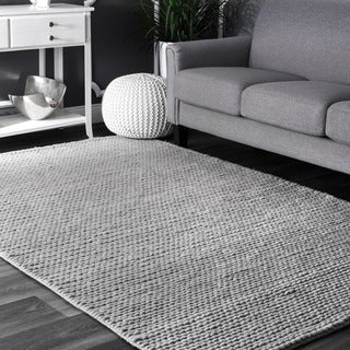 nuLOOM Handmade Casual Braided Wool Light Grey Rug (10' x 14')