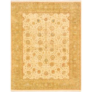 Ecarpetgallery Hand-knotted Mirzapur Beige and Green Wool Rug (7'9 x 9'10)